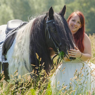 Horse and lady in wedding dress