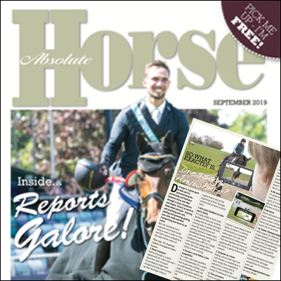 Absolute Horse Magazine cover and online dressage article