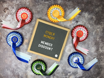 Cyber Monday member discount and online dressage rosettes