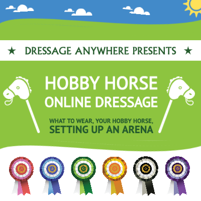 Graphic showing hobby horse online dressage