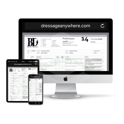 Online dressage scoresheet displayed on mac, phone and tablet