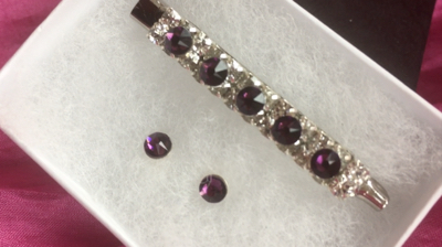 Amethyst Swarovski Crystal stock pin and earing set